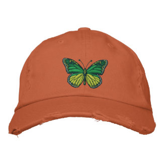 Green Pop Monarch Butterfly Embroidered Cap