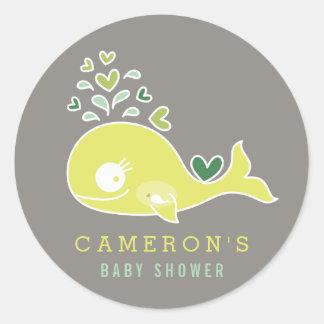 Green Pregnant Mummy Whale Baby Shower Sticker