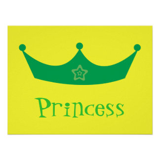 Green Princess Crown Customizable Yellow Poster