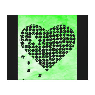 Green Puzzle Heart Canvas Print