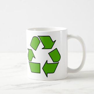 Green Recycle symbol mug for earth day