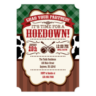 Green Red Brown Hoedown Party Invitation