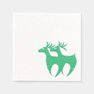 Green reindeer napkins Xmas Paper Napkins