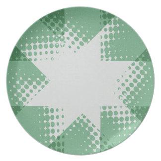 Green retro halftone star plate
