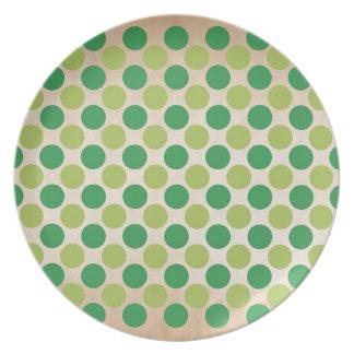 Green retro vintage circles pattern plate
