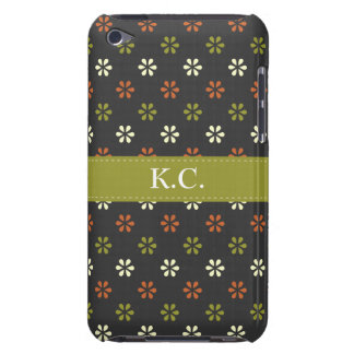 Green ribbon monogram mini mod flowers pattern iPod touch cases
