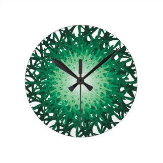 green riddle round clock