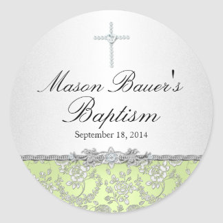 Green Rose & Cross Baptism Sticker