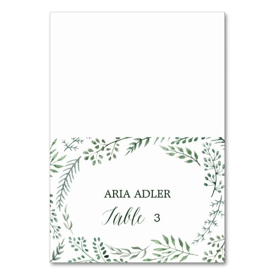 Green Rustic Wreath Wedding Escort Place Cards Table Cards