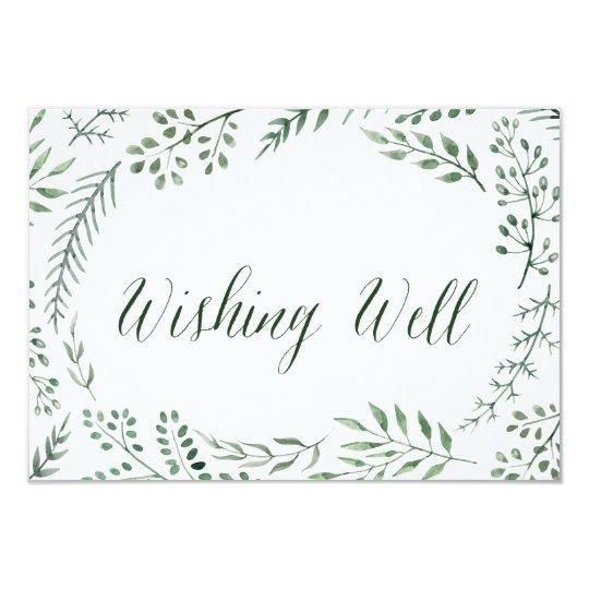 Green Rustic Wreath Wedding Wishing Well Card