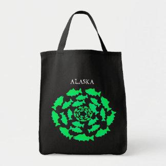 Green Salmon Circles Tote Bag