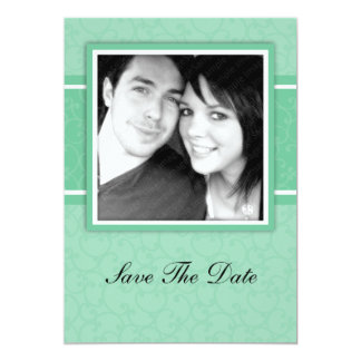 Green Save The Date Engagement Announcement