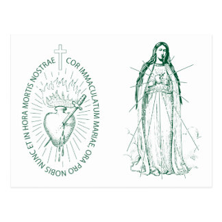 Green Scapular in Latin Postcard