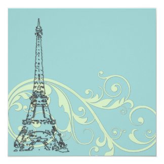 Green Scrolls and Eiffel Tower 13 Cm X 13 Cm Square Invitation Card