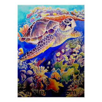 Green sea turtle and reef poster