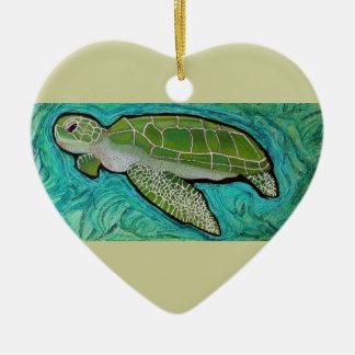 Green Sea Turtle Ceramic Heart Decoration