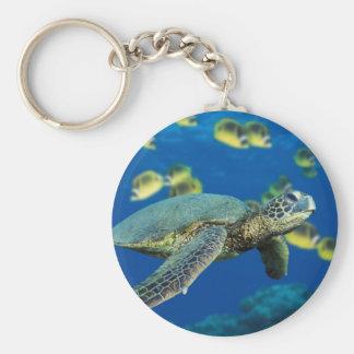 Green Sea Turtle Basic Round Button Key Ring
