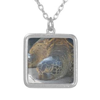 Green Sea Turtle Square Pendant Necklace