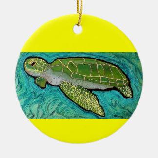 Green Sea Turtle Round Ceramic Decoration