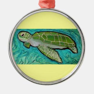 Green Sea Turtle Silver-Colored Round Decoration