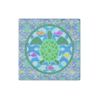 Green Sea Turtle Stone Magnet
