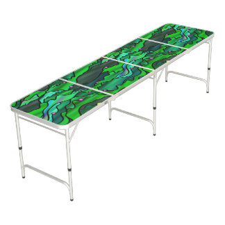 Green Seascape Stained Glass Abstract Pong Table