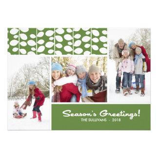 Green Season s Greetings Script Holiday Photo Card