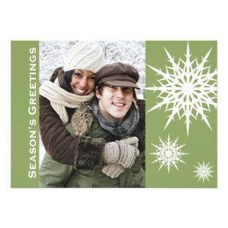 Green Season's Greetings Snow Holiday Flat Card