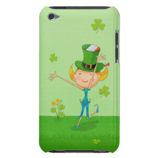 Green Shamrock Clovers & Elves with Leprechaun Hat Barely There iPod Case