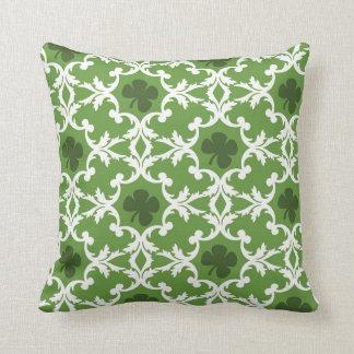 Green Shamrock Damask Cushion