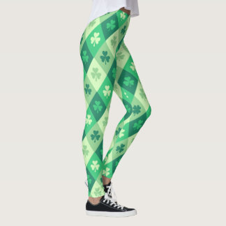 Green Shamrock Lucky Saint Patricks Day Fun Leggings
