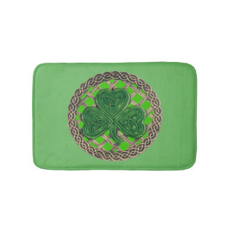 Green Shamrock On Celtic Knots Bath Mat