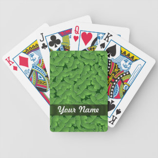 Green shamrock pattern bicycle playing cards