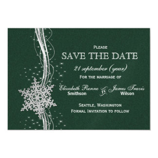 green Silver Snowflakes Winter save the date Magnetic Invitations