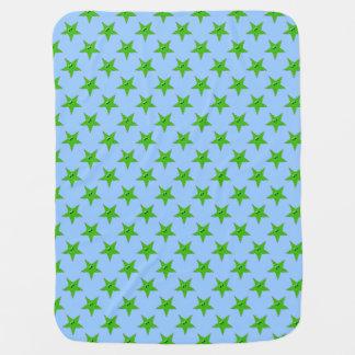 Green Smiley Stars Baby Blanket