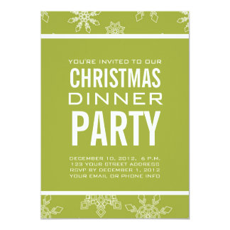 GREEN SNOWFLAKES CHRISTMAS DINNER PARTY INVITATION