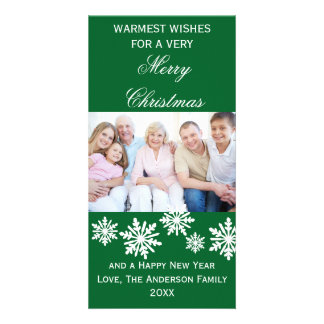 Green Snowflakes Warmest Wishes Photo - Photo Card