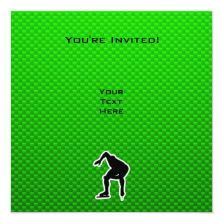 Green Speed Skater 5.25x5.25 Square Paper Invitation Card