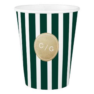 Green stripes simple modern wedding monogram paper cup