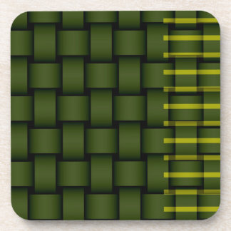 Green stripes wicker retro graphic design coaster