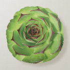 Green Succulent Cactus Spring Flower Round Cushion