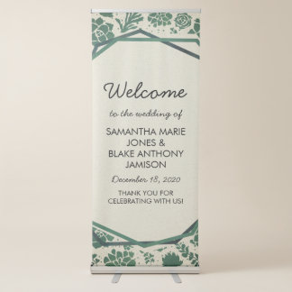 Green Succulents in Natural Wedding Welcome Retractable Banner