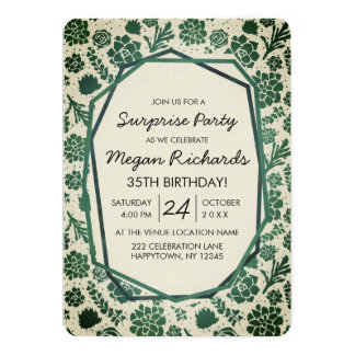 Green Succulents Natural Birthday Party Invitation