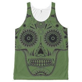 Green Sugar Skull All-Over Printed Unisex Tank