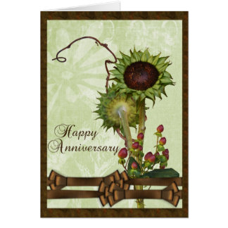 Green Sunflowers Anniversary Card