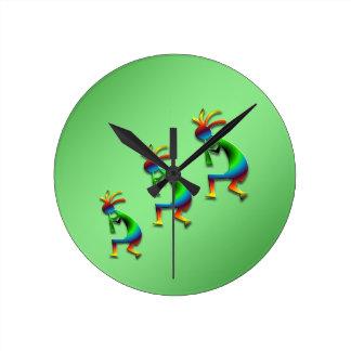 Green Swirl Kokopelli Round Clock