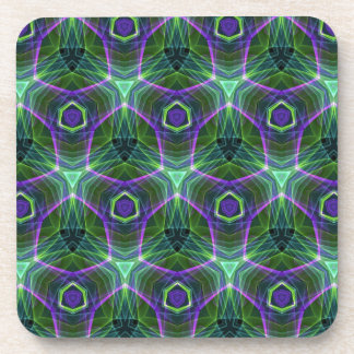 Green Teal Lavender Geometric Seamless Pattern Coaster