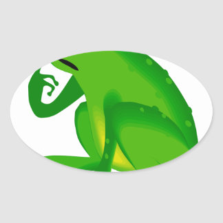 Green thinking frog oval sticker