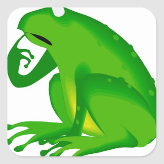 Green thinking frog square sticker