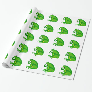 Green thinking frog wrapping paper